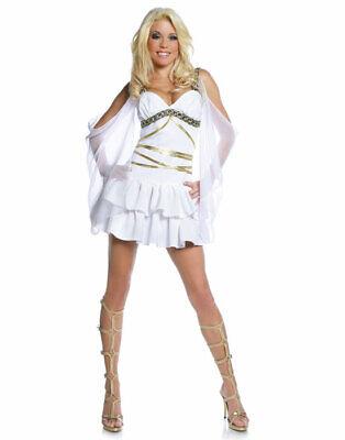 Damen Weiß Griechische Römische Sexy Aphrodite Göttin Halloween Kostüm XL