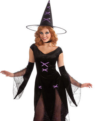 Sexy Black Gothic Madonna Of Salem Witch Adult Womens Halloween Costume-Std