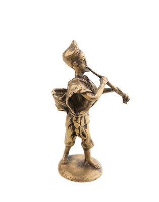 Statue Musician Brass Player of Flute Art and Bronze African AA788