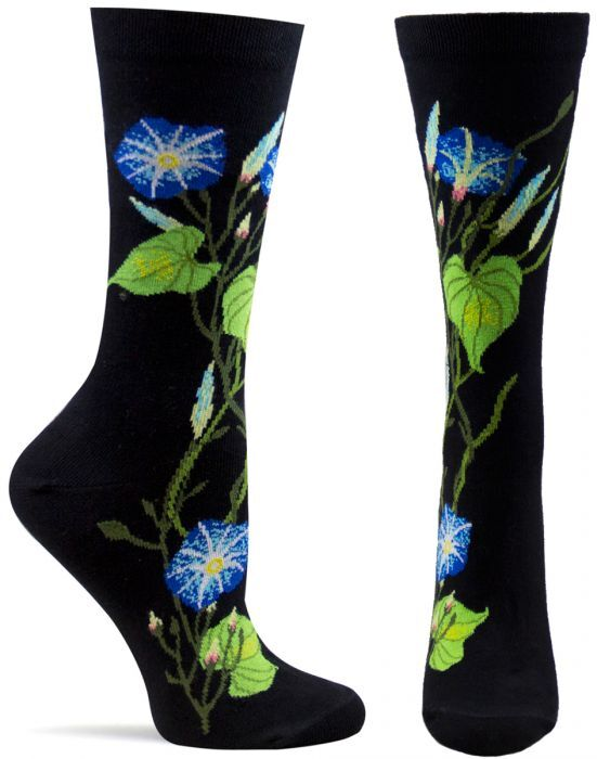 Trouser Crew Socks Black 'Morning Glory' NWT Women's 9-11 OZONE Witches Garden
