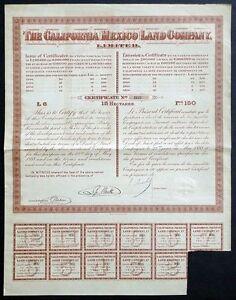 ACTION de la Californie (Mexique) Land Company, Limited - 1888 Saguenay Saguenay-Lac-Saint-Jean image 1