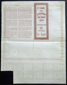 ACTION de la Californie (Mexique) Land Company, Limited - 1888 Saguenay Saguenay-Lac-Saint-Jean image 3