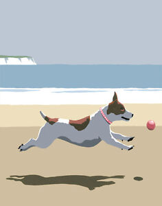 Little Terrier and Ball. Art poster print seaside sign by Martin Wiscombe.