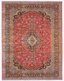 Very Fine Hand-Woven, Signed Classic Persian Kashan, Massive Room Size 400x300 cm Around 1970