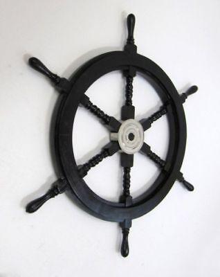 "SHIP WHEEL WOODEN 18"" D BLACK ~ BOAT ~ PIRATE ~ NAUTICAL DECOR ~ HOME DECOR"