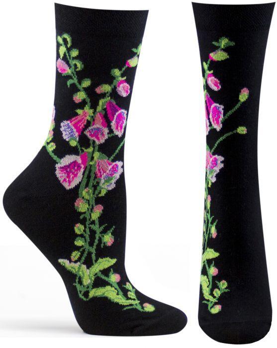 Trouser Crew Socks Black 'Fairy Gloves' NWT Women's 9-11 Witches Garden PRETTY