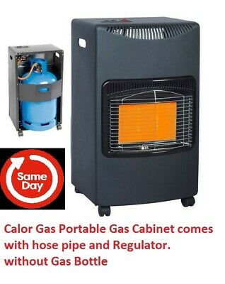 4.2KW CALOR GAS PORTABLE CABINET HEATER FIRE BUTANE WITH REGULATOR & HOSE...