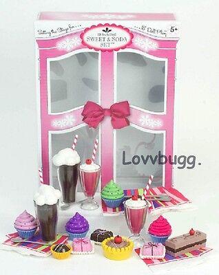 "Lovvbugg Sweets n Sodas Set Mini for 18"" American Girl Doll Food Accessory"