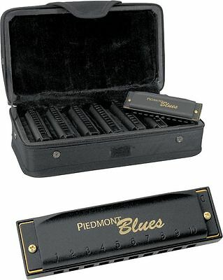 HOHNER Piedmont Blues HARMONICA Harp Set of 7 with Case PBH7 PBH-7 on Rummage