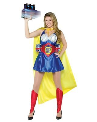 Womens Adult Funny BEER SUPER GIRL Costume (Funny Girl Kostüm)