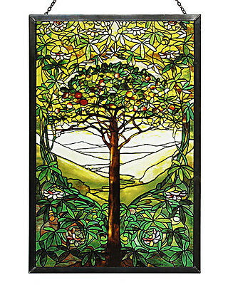 - Tiffany Tree of Life Stained Art Glass Panel 10'' x 6.5'' with Hanging Chain