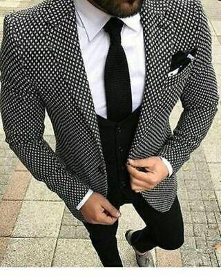 Männer Herren Anzüge (Mode Männer Hahnentritt Herren Anzüge Tweed Smoking Anzüge Hochzeitsanzug)