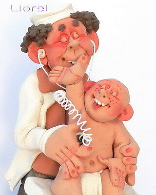 Kids Pediatrician Doctor Figurine Wstethoscope Toddler Child Baby Pottery Craft