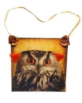 Decoration Ideas For Birthday Party (Owl decoupage door hanger, wall decor, owl fan gift idea for owl birthday)
