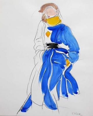 ANTONIO LOPEZ ORIGINAL PAINTING FASHION DESIGNER ILLUSTRATION #80 RARE!