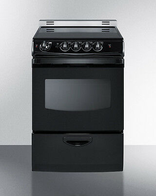 "Summit REX243BRT  24"" Slide In Electric Range Smooth Top Black"