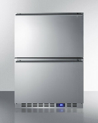 "Summit FF642D 24"" 2Drawer All Refrigerator Built In Freestanding Stainless Steel"