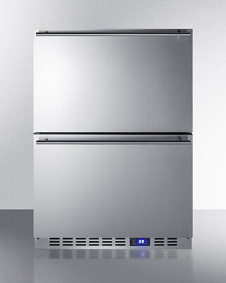 Summit Ff642d 24  2Drawer All Refrigerator Built In Freestanding Stainless Steel