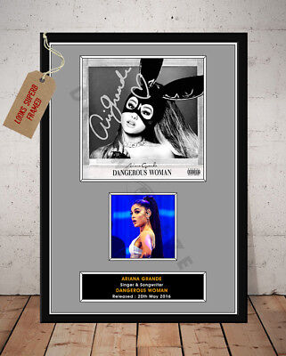 ARIANA GRANDE DANGEROUS WOMAN AUTOGRAPHED SIGNED REPRO MUSIC PHOTO PRINT