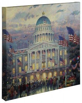 Thomas Kinkade Wrap   Flags Over The Capital   20  X 20  Wrapped Canvas