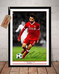 MO SALAH LIVERPOOL FC AUTOGRAPHED SIGNED FOOTBALL PHOTO PRINT