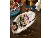 Mamas & Papas Bouncer Apollo Magic Stripe Baby Newborn Vibrating Music Chair Rocker