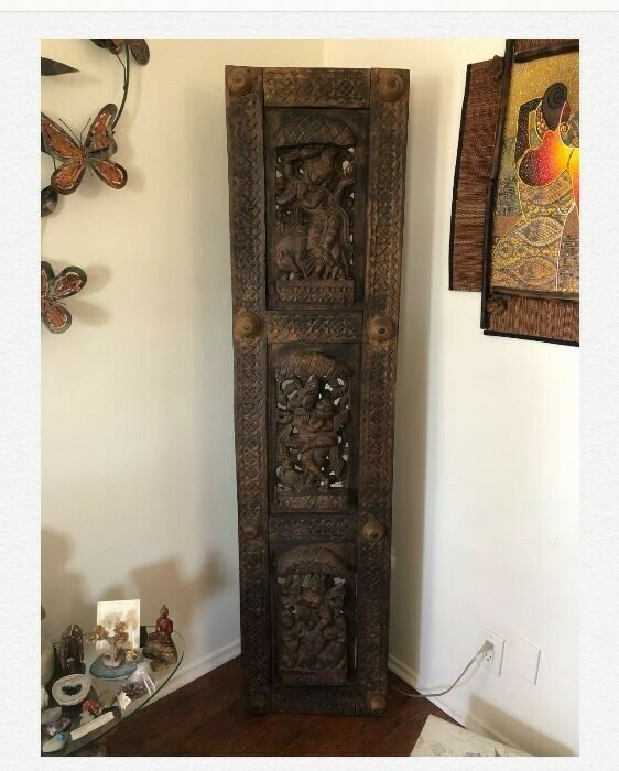 Hand carved mid-century Kama Sutra wooden panel 72x18