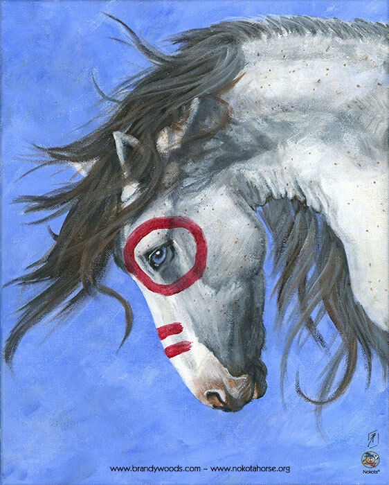 Native American Indian Pony Stallion War Horse Painting 8x10 Art Print Woods