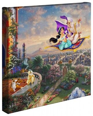 Thomas Kinkade Aladdin 14 x 14 Gallery Wrapped Canvas Disney Wrap