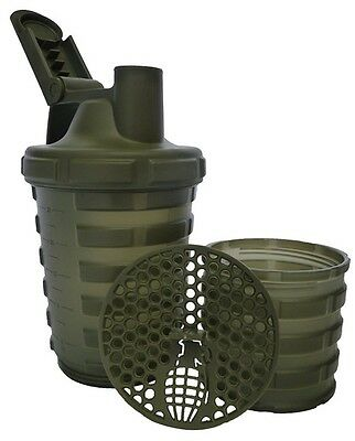 Grenade Shaker Blender Mixer Bottle Cup 20oz 600ml Separate Protein Compartment