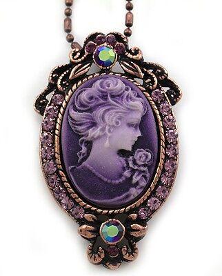 Purple Lavender Cameo Pendant Necklace Silver Tone Bronze Tone Metal Jewelry g1 1 Cameo Pendant Necklace
