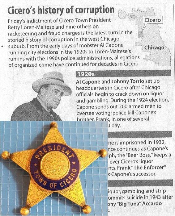 Antique Chicago Mob Land Era Cicero President Star Mobsters Organized Crime 1920