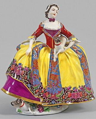 Antique Meissen Porcelain Crinoline Lady w/ Pug Figure Figurine Porzellan Figur