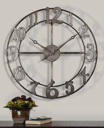 "Open Design Contemporary Champagne Metal Wall Clock 32"" Large"