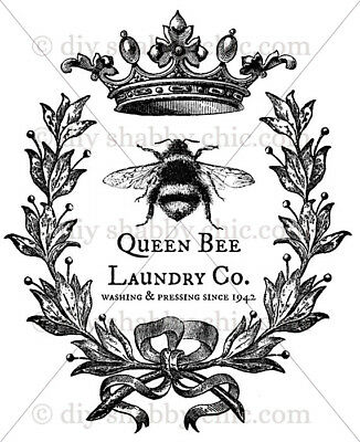 Furniture Decal Image Transfer Vintage Queen Bumble Bee Wreath Diy Shabby Chic