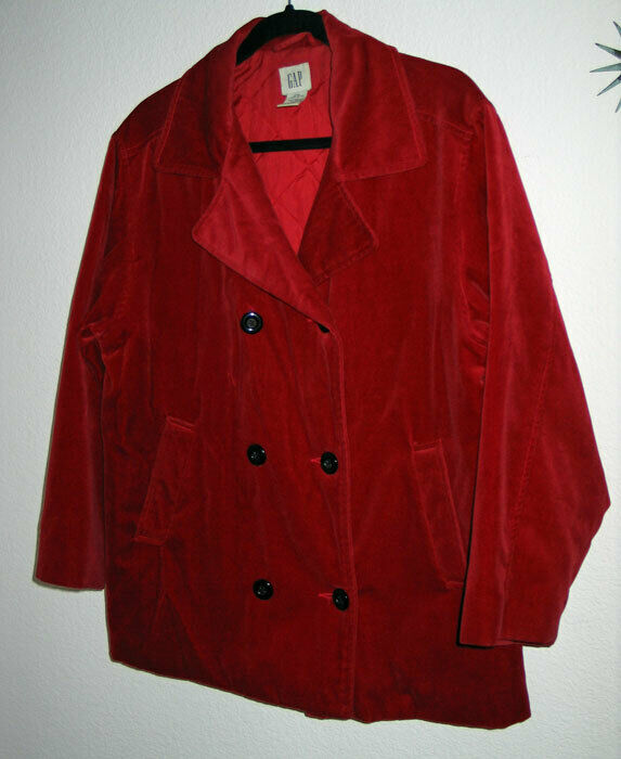 Vintage GAP Age 13-14 Bright Red Cotton Velvet Double Breasted Coat Rare XXL