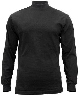 Black Mock Turtleneck Sweater High Collar Neck Uniform Top Long Sleeve Warm