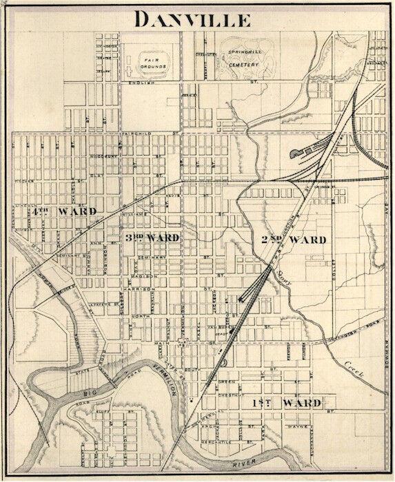 Danville  Illinois Vermilion Co IL 1876 Map Genealogy reprint