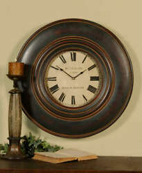 Rutherford Wood Wall Clock Brown 24D Large Gallery Masculine Traditional Round