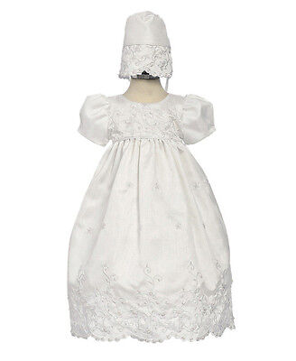New Girls White Baptism Christening Dress Gown Floral Embroidered Shantung (Embroidered Floral Christening Gown)