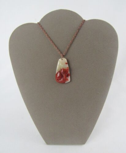 Carved Agate Stone Sleeping Red Fox Pendant Necklace - Nice!