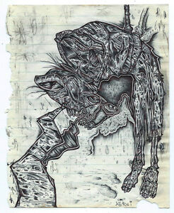 AERNI outsider art original drawing horror macabre