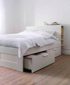 IKEA 'Brimnes' bed frame w storage and headboard, double, white Seaford Frankston Area Preview