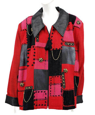 4l Crystal (New Crystal Handwovens Jacket Womens 4L Plus Size Pockets Red Leather Patchwork)