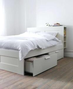 Ikea BRIMNES bed frame with storage and headboard, white