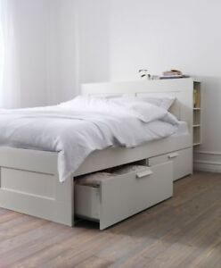 QUEEN SIZE BED FRAME - BRIMNES WITH HEADBOARD