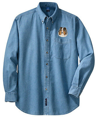 Shetland Sheepdog Sheltie Embroidered Denim Shirt - Sizes XS thru XL image