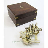 "Solid Brass Sextant 4.87"" w/ Wooden Case Nautical Astrolabe Ship Decor New"