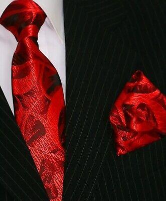 Binder de Luxe Designer Krawatte Einstecktuch Krawatten Set Tie 101 rot Paisley Paisley Designer