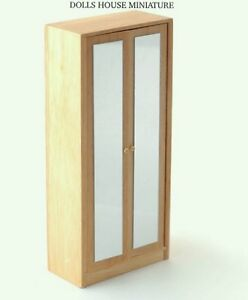 modern pine mirror wardrobe dolls house miniature bedroom furniture 1
